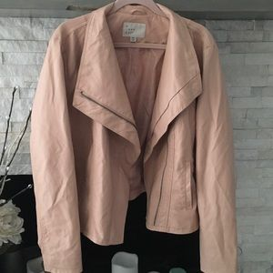 A NEW DAY ROSE COLORED FAUX LEATHER JACKET SZ XXL